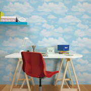 Fresco Cloud Nine Sky Print Clouds Blue Wallpaper