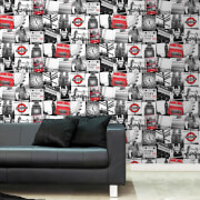 Fresco London Black/Red Wallpaper