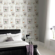 Fresco Brick Print with Floral Frames White Wallpaper