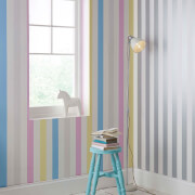Superfresco Easy Kids' Silver/White Metallic Stripe Wallpaper