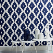 Kelly Hoppen Ikat White/Prussian Blue Linen Textured Shimmer Wallpaper