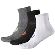 Asics Men's 3 Pack Quarter Run Socks - Grey/Black/White