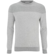 Jack & Jones Men's Core Boost Stripe Jumper - Light Grey Melange/White Stripes