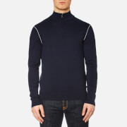 Michael Kors Men's Cotton Tip Half Zip Mock Neck Knit Jumper - Midnight