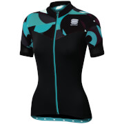 Sportful Women's Primavera Short Sleeve Jersey - Black/Turquoise