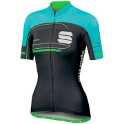 Sportful Women's Gruppetto Pro Short Sleeve Jersey - Black/Turquoise/Green