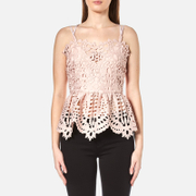 Perseverance Women's Baroque Guipure Lace Double Strap Cami - Dusty Pink