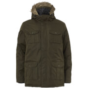 Brave Soul Men's Canadian Fur Trim Parka Jacket - Khaki