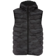 Brave Soul Men's Hugo Camo Padded Hooded Gilet - Black