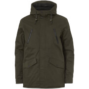 Brave Soul Men's Fingland Coated Parka Jacket - Olive