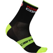 Castelli Rosso Corsa 13 Socks - Black/Yellow Fluo