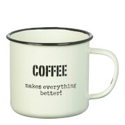 Parlane 'Coffee Better' Enamel Mug - White (8 x 9cm)
