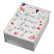 Parlane 'Home is' Metal Trinket Box - Silver/White (7 x 14.5cm)