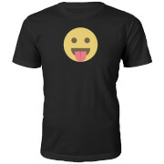 Emoji Unisex Tongue Out Face T-Shirt -Schwarz