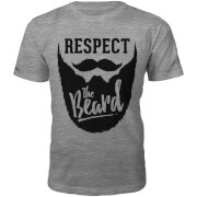 Respect The Beard Slogan T-Shirt - Grey