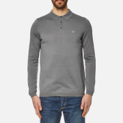 Lyle & Scott Men's Long Sleeve Mercerised Cotton Knitted Polo Shirt - Mid Grey Marl