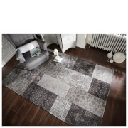 Flair Manhattan Patchwork Rug - Chenille Black/Grey