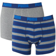 Puma Men's 2 Pack Rugby Striped Boxers - Blue/Grey