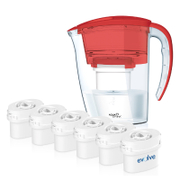 12 Month Bundle - Aqua Optima Galia Jug Plus 6 Cartridges 2.25L - Red
