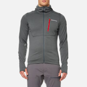 Montane Men's Power Up Hooded Fleece - Stratus Grey/Alpine Red