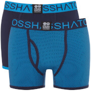Crosshatch Men's 2 Pack Glowchex Boxer Shorts - Malibu Blue