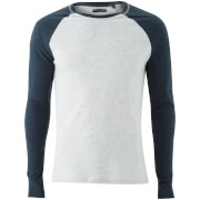 Brave Soul Men's Osbourne Raglan Long Sleeve Top - Ecru/Dark Navy