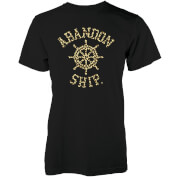 Abandon Ship Men's Leopard Print Wheel Logo T-Shirt - Black