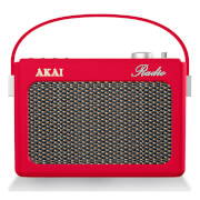 Akai Retro Vintage Portable Wireless DAB Radio with LCD Screen - Red
