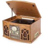 iTek Retro Antique Vintage 5-in-1 Music System (Cassette, CD, Radio, Headphone Jack and Turntable) - Wood