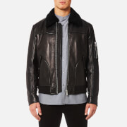 HUGO Men's Lannson Leather Jacket - Black