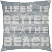 Life Is Better At The Beach Cushion - Grey (45 x 45cm)