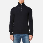 BOSS Orange Men's Almore 1/4 Zip Jumper - Dark Blue