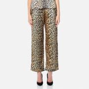 Ganni Women's Dufort Silk Trousers - Leopard
