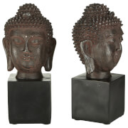 Fifty Five South Buddha Head Bookends - Black (Set of 2)