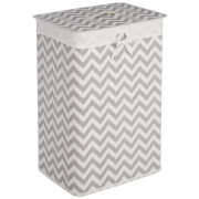 Fifty Five South Kankyo Bamboo Laundry Hamper - White/Grey Chevron