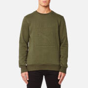 Puma Men's Archive Embossed Logo Crew Neck Sweatshirt - Olive Night