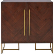 Brando Drinks Cabinet - Acacia Veneer/Antique Brass