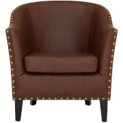 Fulham Arm Chair - Brown Leather Effect