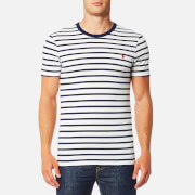 Polo Ralph Lauren Men's Navy/Whitestripe T-Shirt - White/Navy