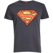 T-Shirt Homme DC Comics Logo Superman Effet Usé - Gris Charbon