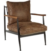 Fifty Five South New Foundry Chair - Brown Leather Effect/Walnut Wood