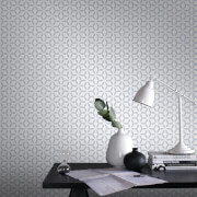 Superfresco Easy Helice Geometric Wallpaper - Silver