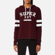 Superdry Women's Riverside Crop Hooded Jumper - 90's Burgundy