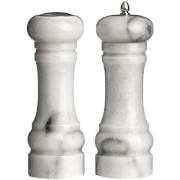 Premier Housewares Salt Shaker and Pepper Mill Set - White Marble (15 x 6cm)