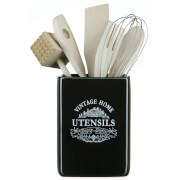 Premier Housewares Vintage Home Utensil Jar with Tools - Black Edition Ceramic