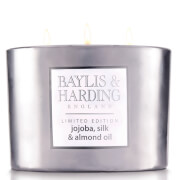 Baylis & Harding Jojoba, Silk and Almond Oil 3 Wick Candle with Metallic Holder