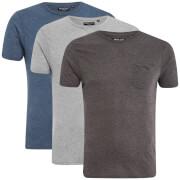 Brave Soul Men's Arkham 3 Pack T-Shirt - Blue/Charcoal/Grey