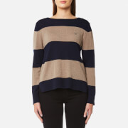 GANT Women's Block Stripe Merino Wool Crew Neck Jumper - Marine