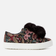 Sam Edelman Women's Leya Pom Pom Flatform Slip On Trainers - Black Multi Majestic Bird