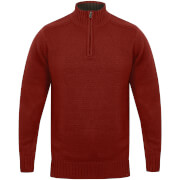 Kensington Men's Zip Down Jumper with Ribbed Detailing - Red